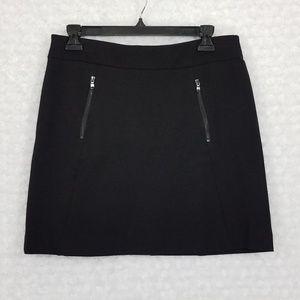 Ann Taylor Black Mini Skirt with Zipper Detail